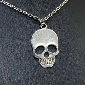 Jewelry - Skull Pendant Chain Necklace • Reversible • Silver